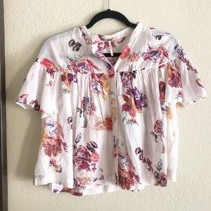 Free People / Billowy White Floral Blouse